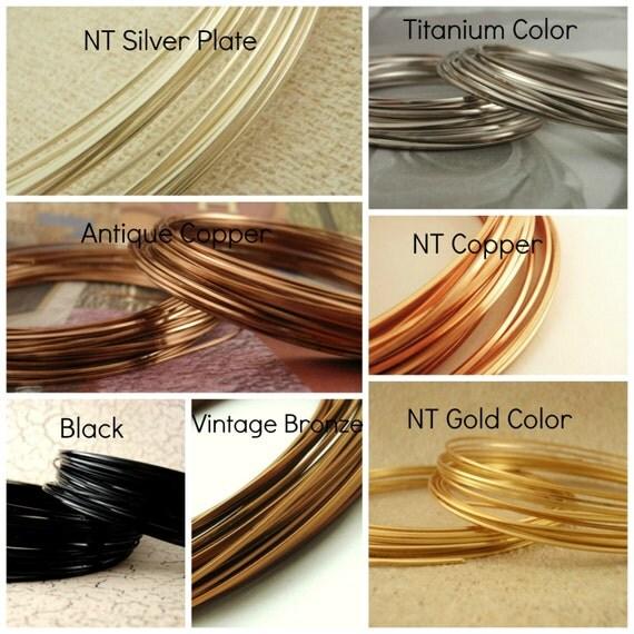 18 gauge SQUARE Wire - Non Tarnish Silver Plate, Gold Colored, Copper, Antique Copper, Vintage Bronze, Titanium Colored, Black
