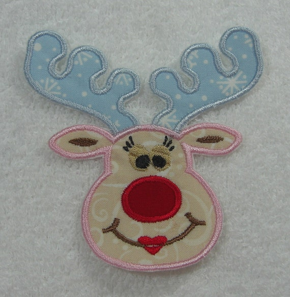 Girl Reindeer Applique Girl Reindeer Face Fabric