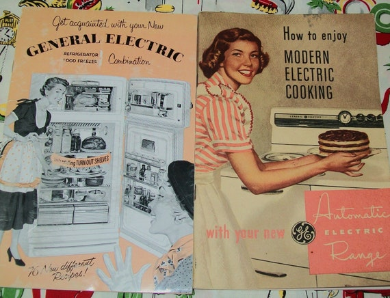 SALE - 2 General Electric 1950s appliance guides with cookbooks, cook book, 1950s, recipes, midcentury, cooking, range, refrigerator, guide