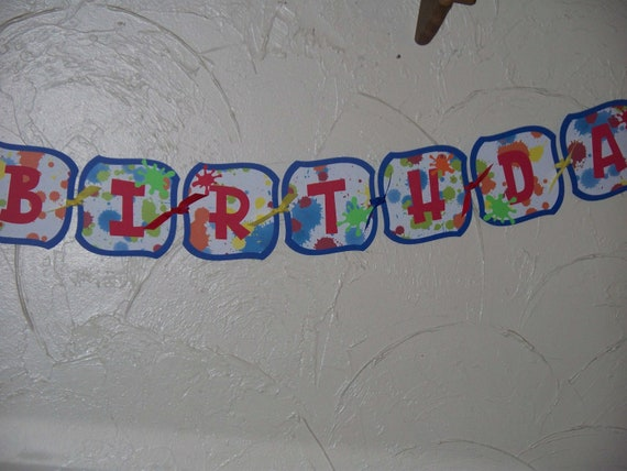 Paint Ball or Paint Splatter Birthday Banner for Tween Boys