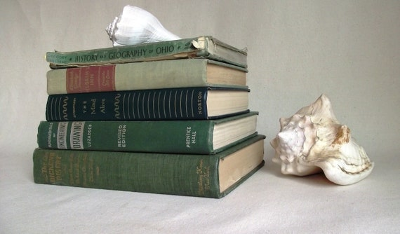 Vintage Book Bundle In Shades of Green