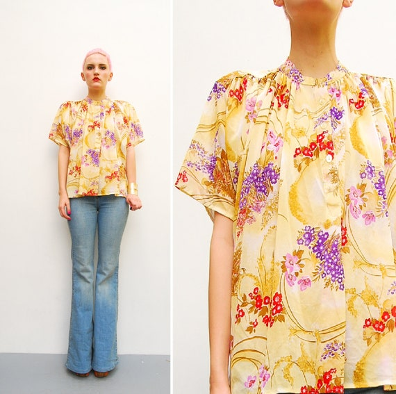 70s Blouse - Sheer Oriental Floral Print Top - Batwing Flutter Dolman Sleeves - 1970s Boho Hippie Draped Blouse - Spring Fashion - S M