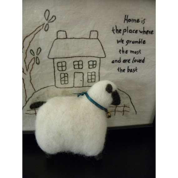 Very Wooly Needle Felted Sheep With A Pretty Bell