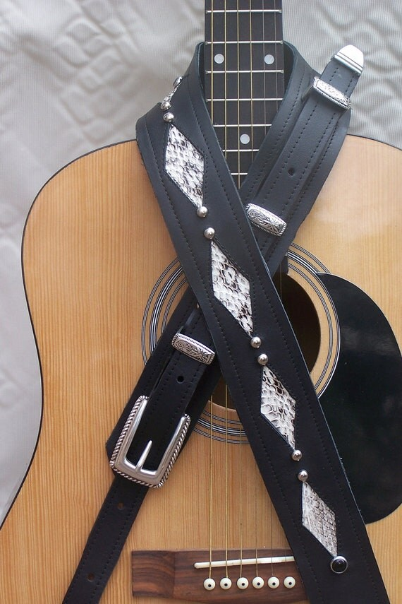 Cool Guitar Strap Real Snakeskin and Black Leather Rock a Billy Beautiful Buckle set