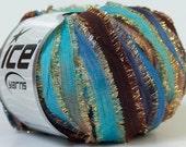 Glorious Santana Ice Metallic Fringed Blue Brown Ribbon Yarn 38 Yards 24354