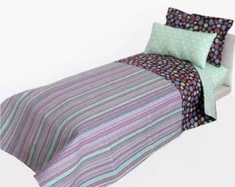 18 inch Doll Bed Bedding Set  Purple Stripes and Green Polka Dots fits American Girl  Doll