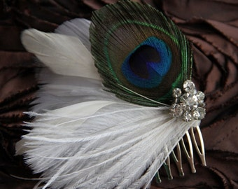 Vivian-Peacock Feather Hair Piece with Vintage Rhinestones