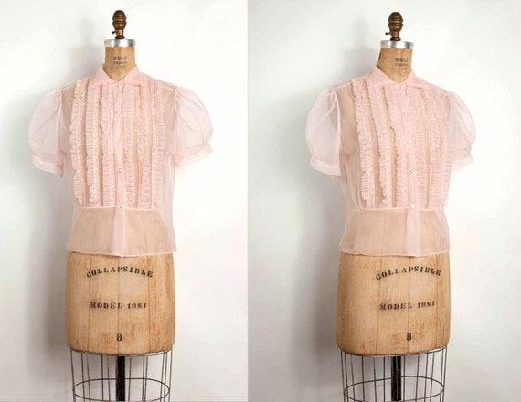 1950s blouse / 50s sheer blouse / pink nylon ruffle (small - medium)