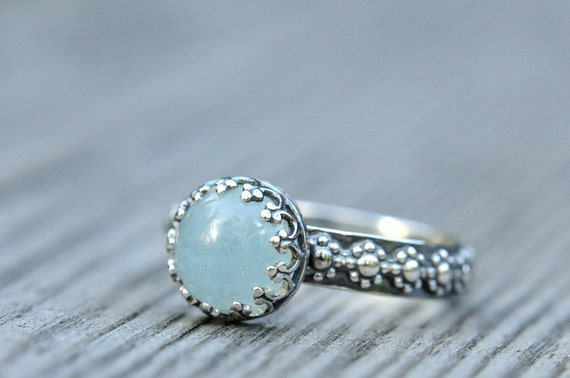 Aquamarine ring sterling silver with flower band size 7