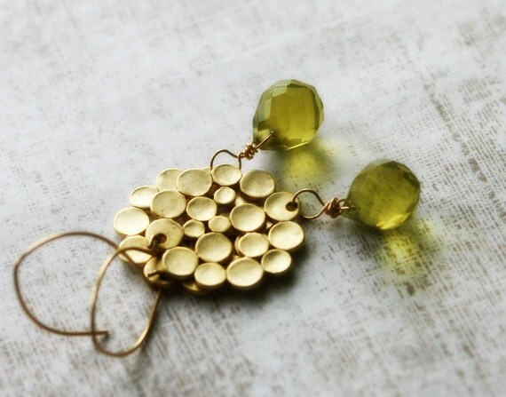 Gold Olive Earrings, Golden Yellow Topaz Glass, 14K Gold Fill, Matte Gold Geometric Circles Ready to Ship