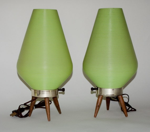 Atomic Beehive Lamps -- Danish Modern - MId Century Modern - Lime Green - Pair