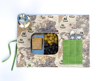Boy birthday gift. Viking map placemat in organic coton for eco friendly kids.