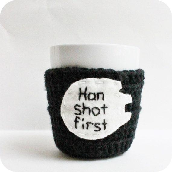 Han Shot First funny coffee mug cozy tea cup black white sci fi crochet handmade cover
