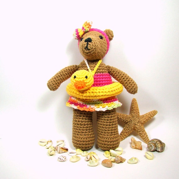 Crochet Bear Amigurumi Teddy Bear Doll in Swimsuit, Ducky Swim Ring, Beach Bear