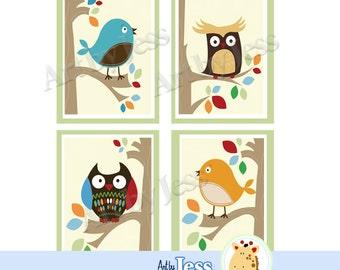 Owls and Birds Tree Tops Nursery Art Prints Set of Four Unframed Art Prints, Owl Theme Baby Nursery