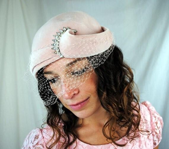 1950's Vintage Pink Velour Hat with Rhinestones - Designer Henry G. Ross Paris