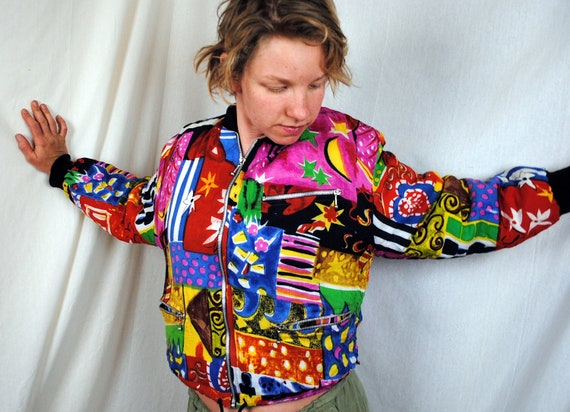 Vintage 80s Cropped Rainbow Geometric Jacket