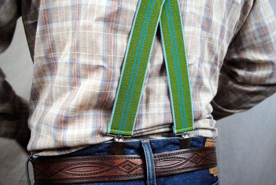 Vintage 80s Striped Green Blue Suspenders