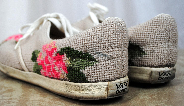 Rare Vintage 60s Floral Vans Deck Shoes Doren Amazing