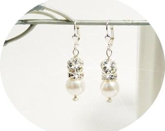 Bridal Earrings, Rhinestone and Pearl Earrings, Glitter, Glitz, Earrings, Sparkly, Pageant Earrings, Bridal Accessories, Rhinestone Earrings