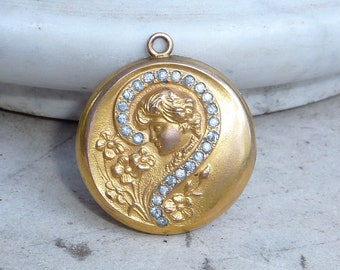 1900s Gibson Girl Paste Question Mark Locket Monogramed Back