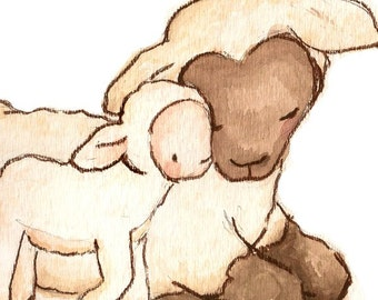 Children Art Print. My Baby Collection- My Baby Lamb. PRINT 8X10. Nursery Art Home Decor