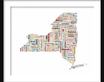 New York Typography Color Map Poster Print