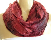 Shimmery Brick red.. Tie dyed...Flamenco.Necklace Scarf...Le dernier cri...