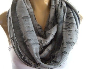 Gray blue Winter scarf Storm at the Desert, shredded infinity scarf, Blue gray,nomad scarf cowl, circle scarf