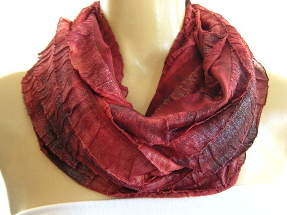 Shimmery Brick red.. Tie dyed...Flamenco.Necklace Scarf...Le dernier cri...