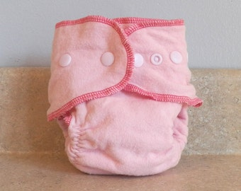 Fitted Medium Cloth Diaper- 10 to 20 lbs- Basic Pink- Set of 5- Bulk Discount- Made to Order