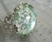 Granny Smith Apple Green-Victorian Filigree Pressed Flower Ring with Queen Anne's Lace-Sealed Beneath Glass-Symbolizes Peace