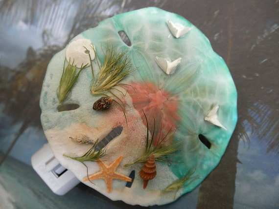 Sunset Sand Dollar Night Light-Starfish,& Sand Dollar, Seashells, Wispy Grasses, Doves From Inside Sand Dollar