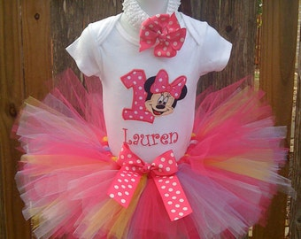 Hot pink,lavender,yellow and white custom boutique monogrammed personalized minnie mouse birthday tutu set
