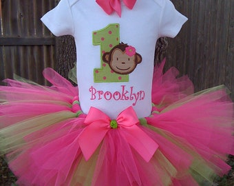 Custom Boutique Personalized Monogrammed Hot Pink & Lime Green, Monkey Birthday Tutu Set