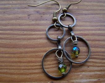 Antique Brass Double Hoop Czech Green Glass Dangle Earrings-Forest