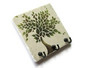 Green Tree Wall Key Holder, Decorative Tile Key Hook Hanger, Home Decor, Earthy Colors, Key Rack, Jewelry Hooks (38)