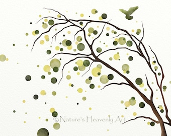 8 x 10 Watercolor Tree Art Print, Green Nature Decor, Natural Colors, Modern Wall Art, Abstract Tree Silhouette,  (130)