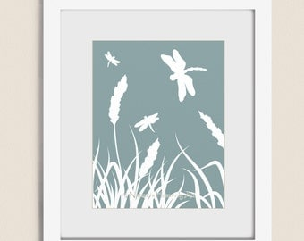 Dragonfly 11 x 14 Art Print, Blue Green Nature Wall Art, Dragonflies, Wheat Grass, Pick Your Color Wall Decor (13)