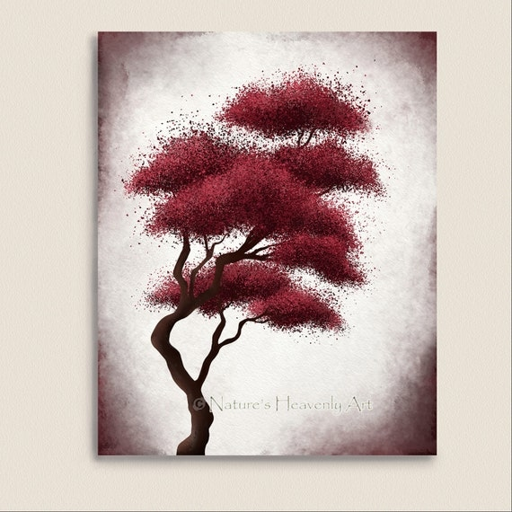 Japanese Bonsai Tree Art Red Wall Decor by NaturesHeavenlyArt