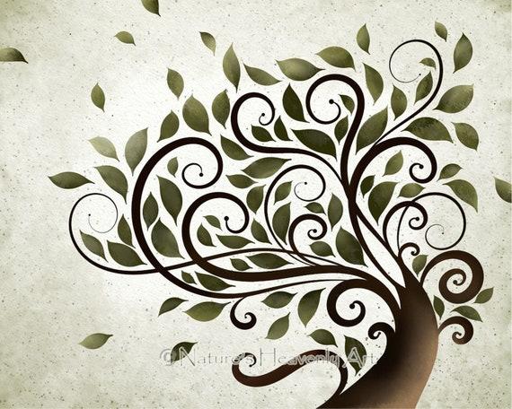 Wall Decoration Tree Painting: Summer Tree Print Whimsical Wall Art Watercolor Tree
