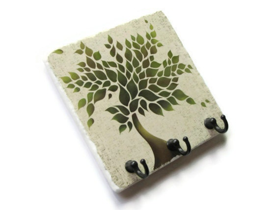 Green Tree Wall Key Holder Decorative Tile Key Hook Hanger