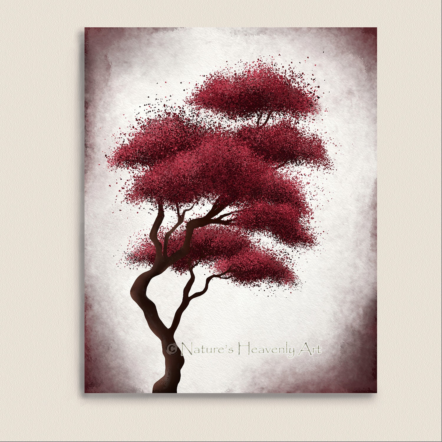 Japanese bonsai tree art red wall decor by naturesheavenlyart for Red wall art