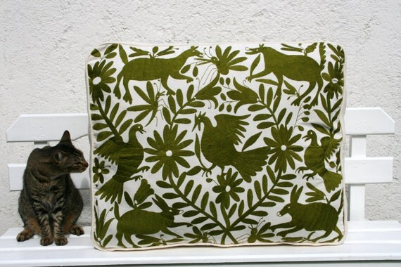 Rich Sage Green Otomi Pouf  Gorgeous and ready to Ship