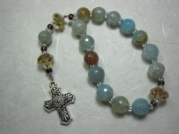 Amber and Blue Agate Prayer Chaplet