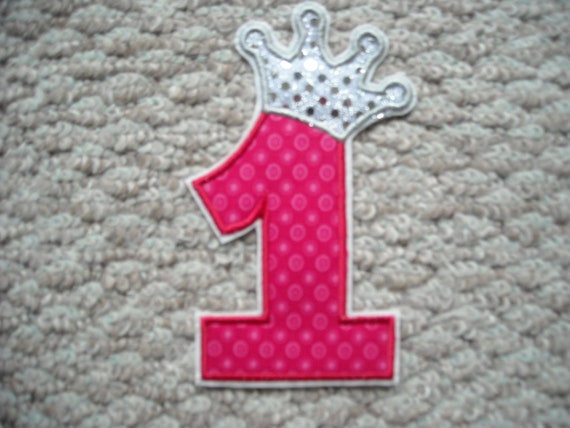 NO 1  with a crown Iron on applique Machine embroidery  Free Shipping U.S.A.