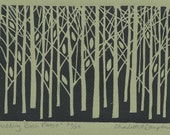 Budding Birch Forest 5x7 Hand-Pulled Linocut Print