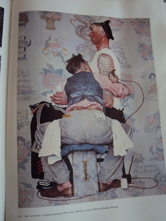 Norman rockwell print the tattooist from 1944 for Norman rockwell tattoo