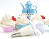 The Bakers Necklace sweet white frosting Cupcake necklace with white Pastry Bag charm great as tea party necklace -  piping bag charm