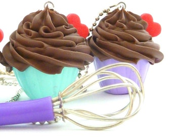 The Bakers Necklace sweet  white frosting Cupcake necklace with purple miniature whisk charm great as tea party necklace